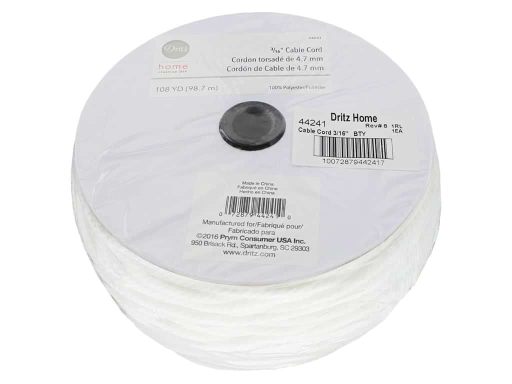 Dritz Home Cable Cord 3/16 in. x 108 yd. White (108 yards)