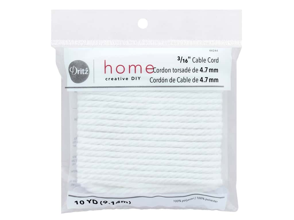 Dritz Home Cable Cord 3/16 in. x 10 yd. White