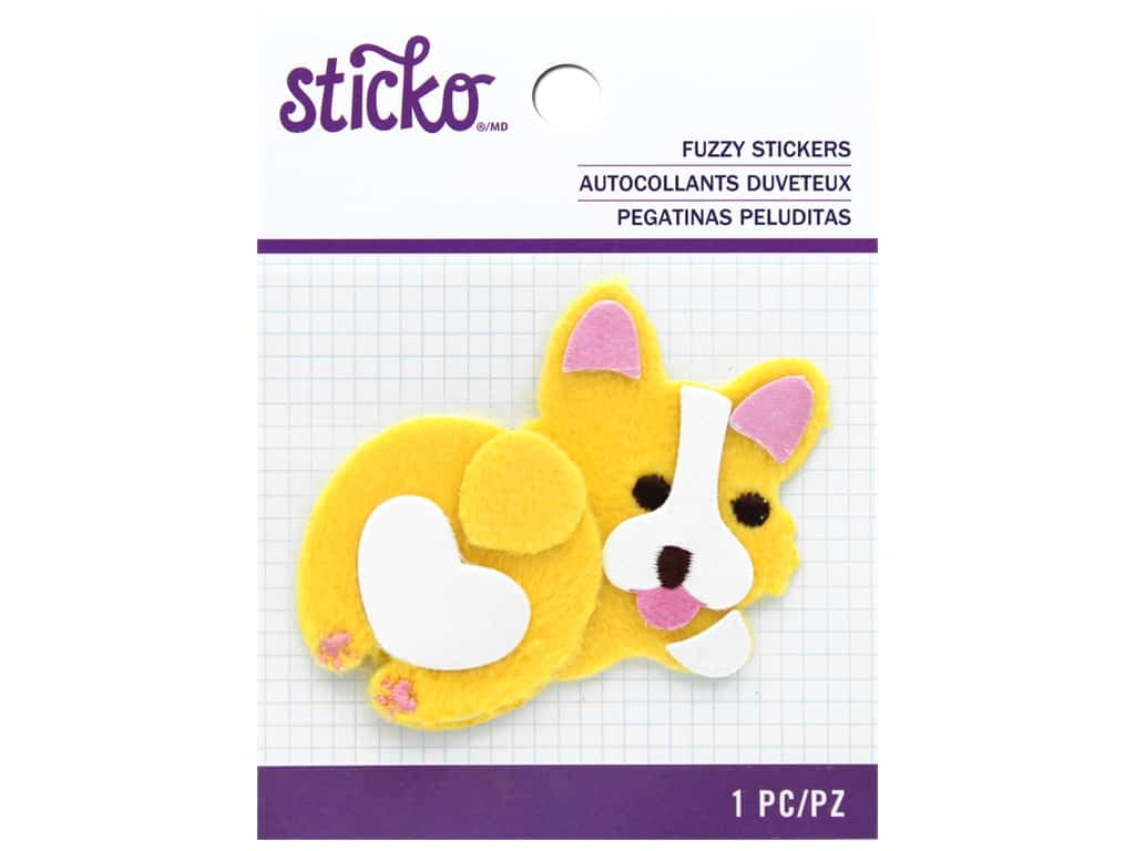 Sticko Fuzzy Stickers - Fat Corgi