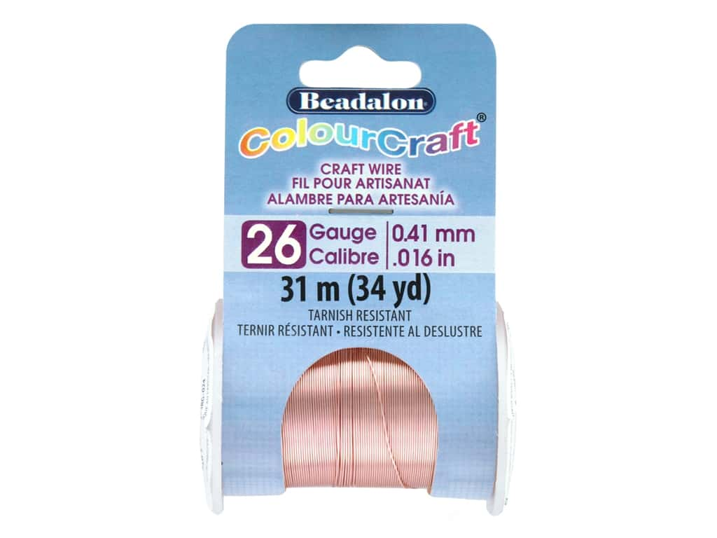 Beadalon ColourCraft Tarnish Resistant Copper Wire Tarnish Resistant 26 ga Rose Gold 34 yd