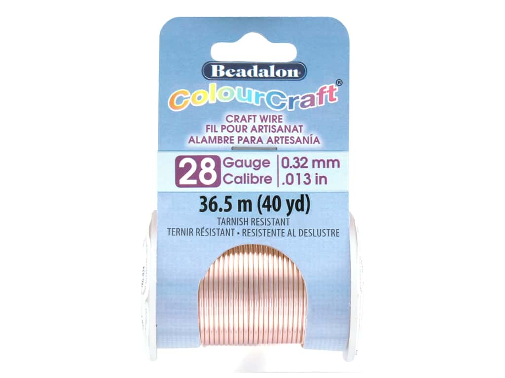Beadalon ColourCraft Tarnish Resistant Copper Wire Tarnish Resistant 28 ga Rose Gold 40 yd