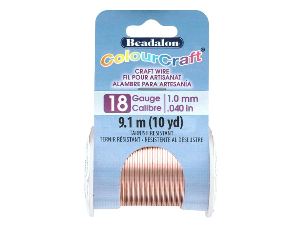 Beadalon ColourCraft Tarnish Resistant Copper Wire Tarnish Resistant 18 ga Rose Gold 10 yd