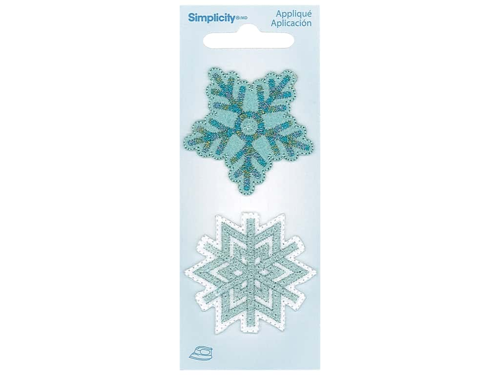 Simplicity Applique Iron On Snowflake 2 pc