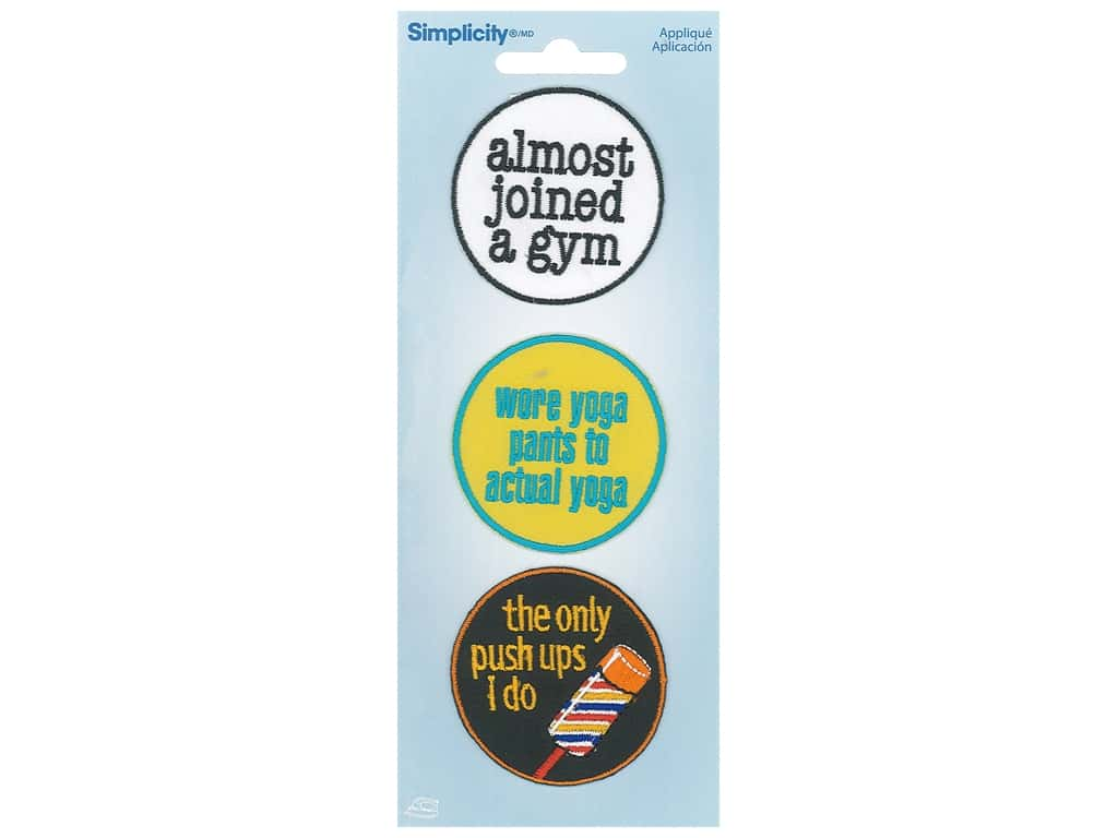 Simplicity Applique Iron On Gym 3 pc