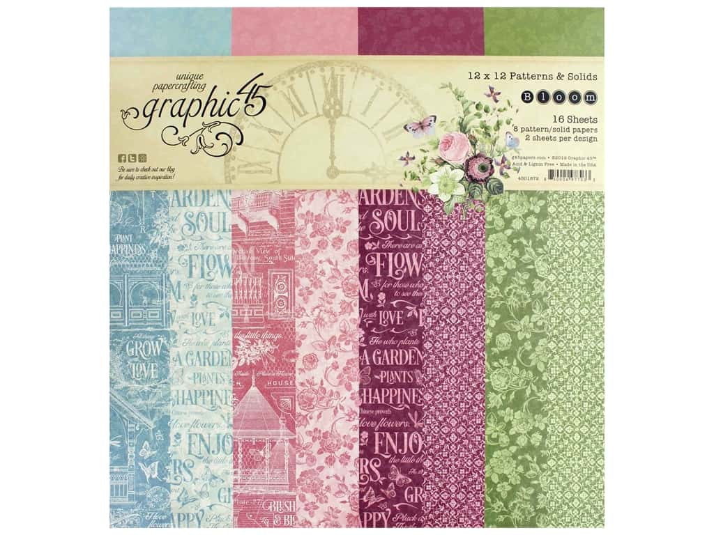 Graphic 45 Collection Bloom Paper Pad 12 in. x 12 in. Solid/Pattern