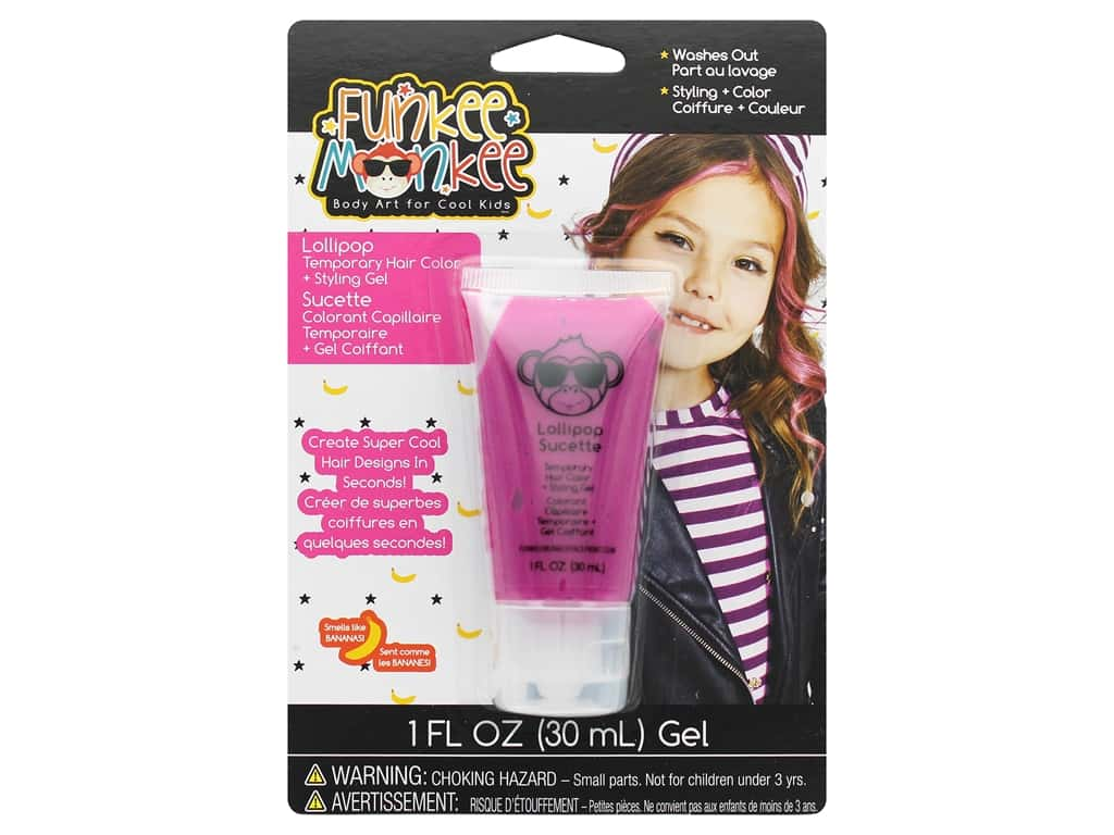 Funkee Munkee Temporary Colored Hair Gel Lollipop Pink