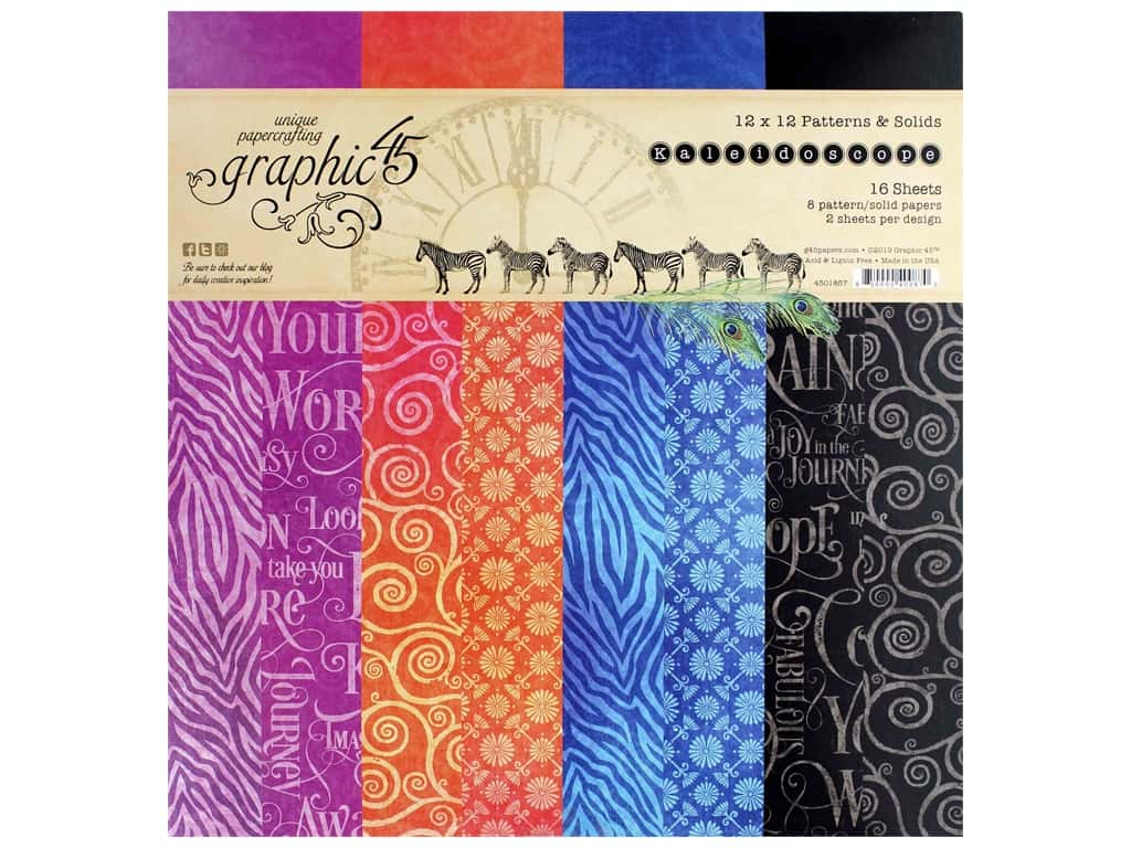 Graphic 45 Collection Kaleidoscope Paper Pad 12 in. x 12 in. Solid/Pattern