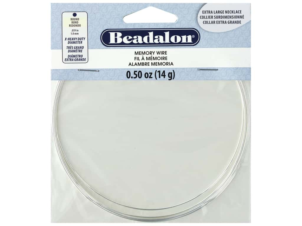 Beadalon Memory Wire Necklace Round Extra Large Silver Plated .5 oz