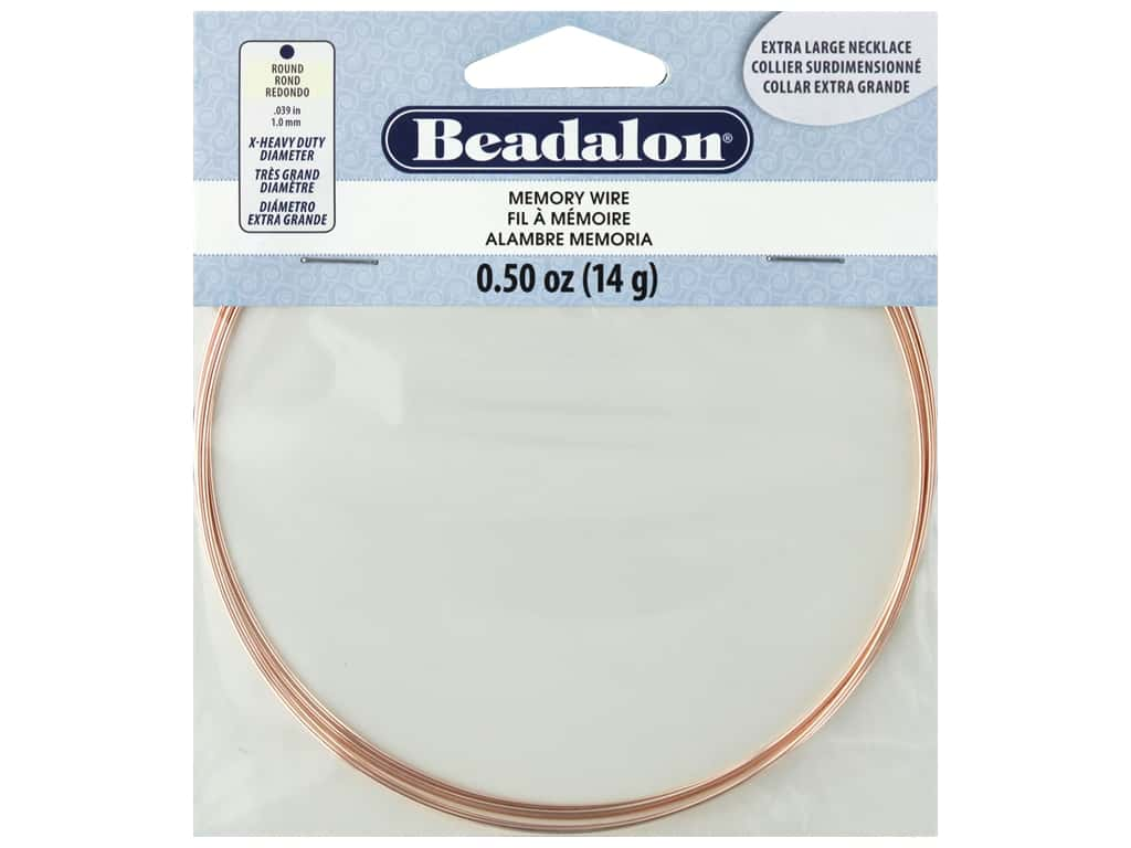 Beadalon Memory Wire Necklace Round Extra Large Rose Gold .5 oz