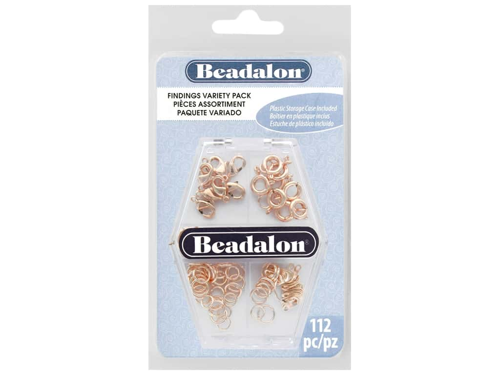 Beadalon Findings Variety Pack Rose Gold 112 pc