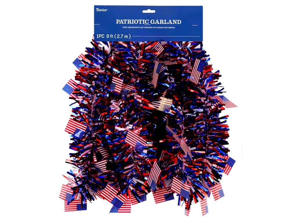 Darice Patriotic Tri-Color Tinsel Garland with Flag Accents 9 ft.