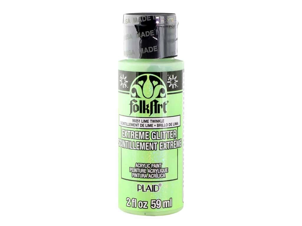 Plaid FolkArt Extreme Glitter Paint 2 oz. Lime Twinkle