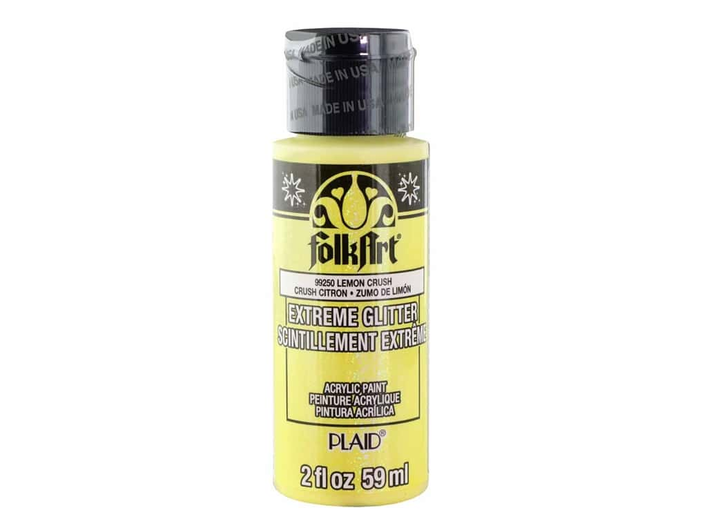 Plaid FolkArt Extreme Glitter Paint 2 oz. Lemon Crush