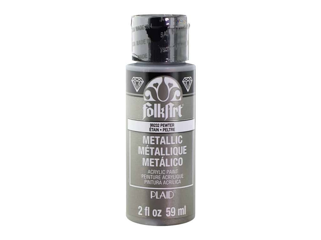 Plaid FolkArt Acrylic Paint 2oz Metallic Pewter