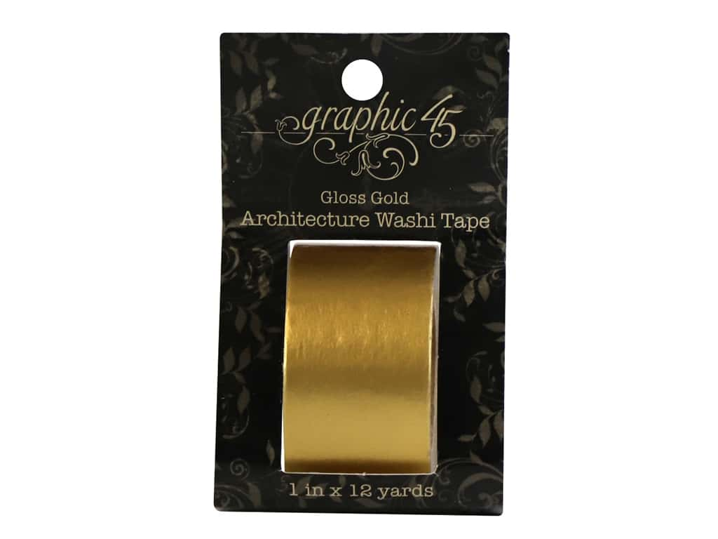 Graphic 45 Staples Architctre Washi Tape Gloss Gold
