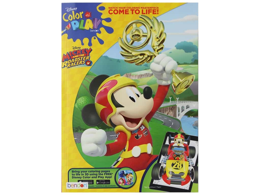 Bendon Color & Play Book Disney Mickey And The Roadster Racers
