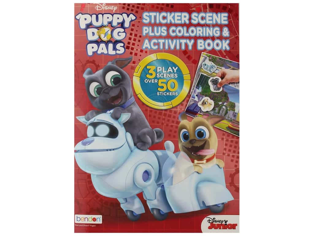 Bendon Coloring Sticker Scene Disney Puppy Dog Book