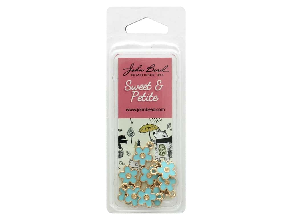 John Bead Sweet & Petite Charm Small Flower Blue 10 pc
