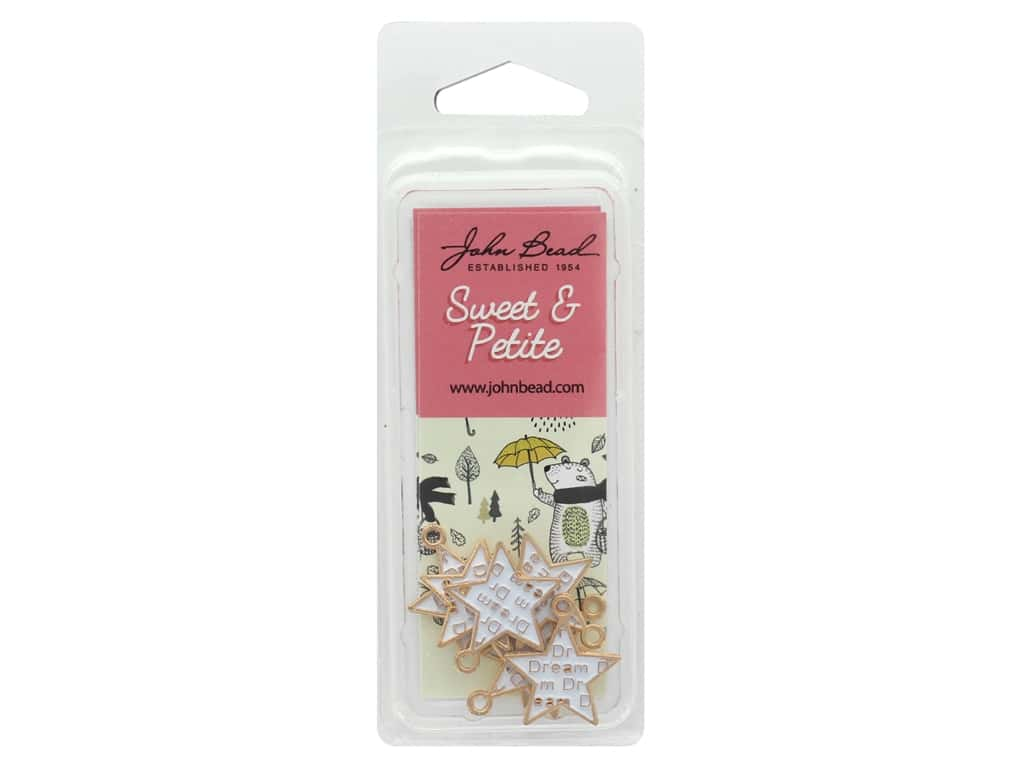 John Bead Sweet & Petite Charm Star Words White 8 pc