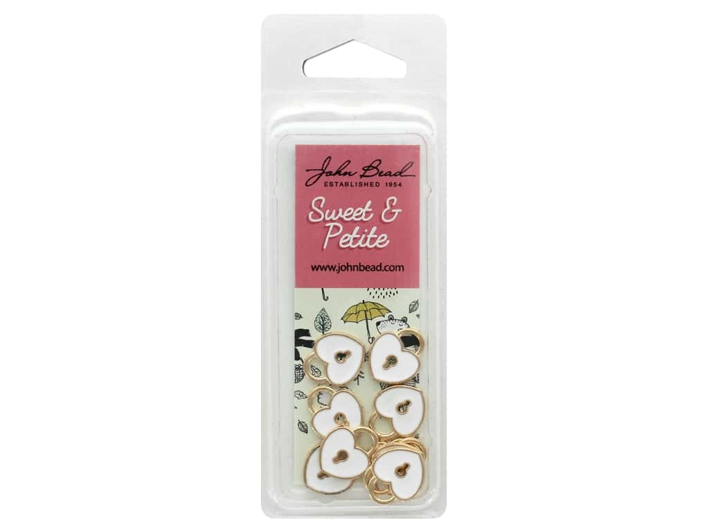 John Bead Sweet & Petite Charm Heart Locket White 10 pc