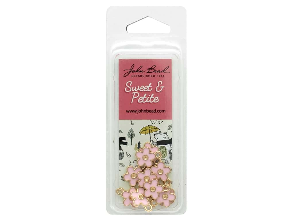 John Bead Sweet & Petite Charm Small Flower Pink 10 pc