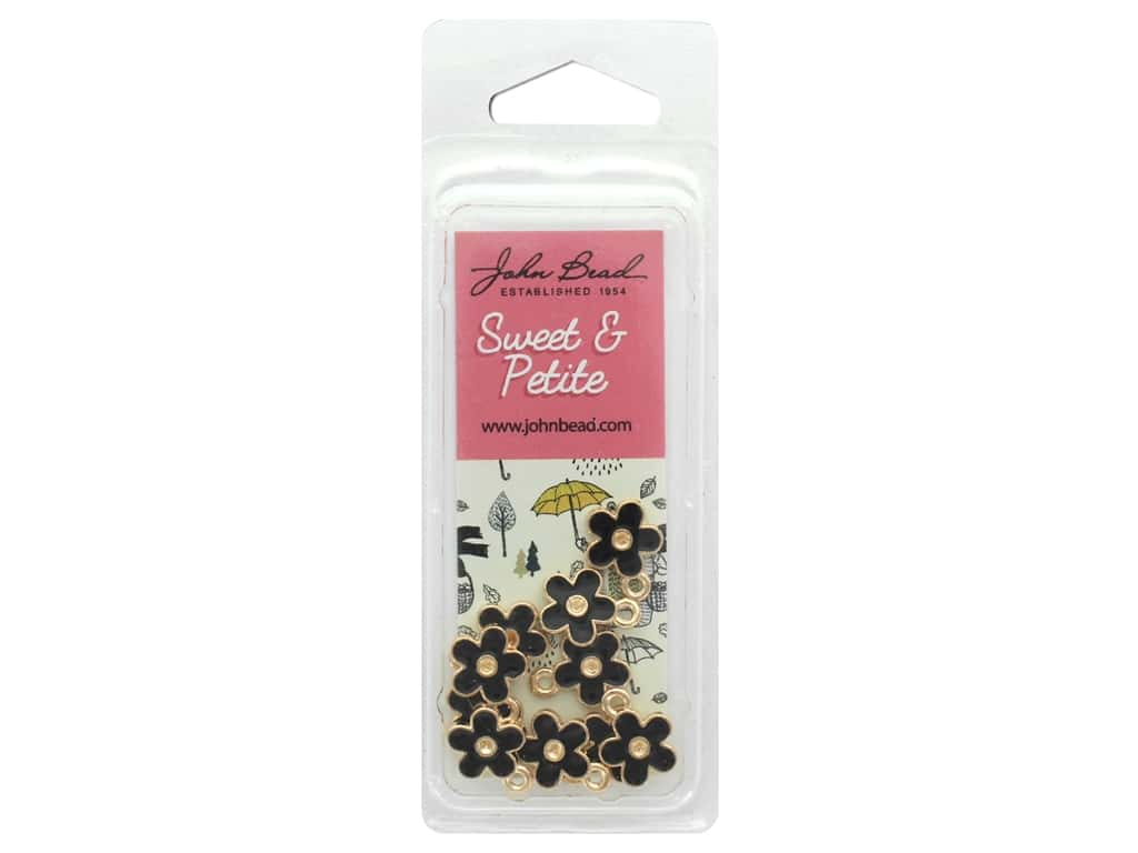 John Bead Sweet & Petite Charm Small Flower Black 10 pc