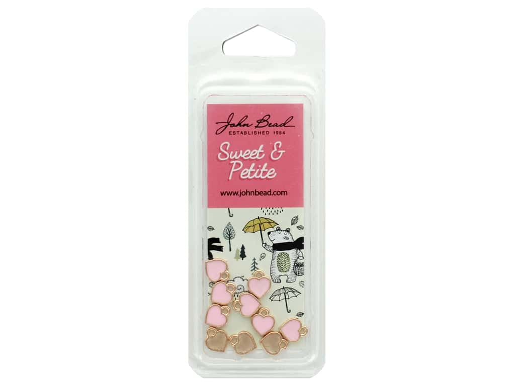 John Bead Sweet & Petite Charm Small Heart Pink 10 pc
