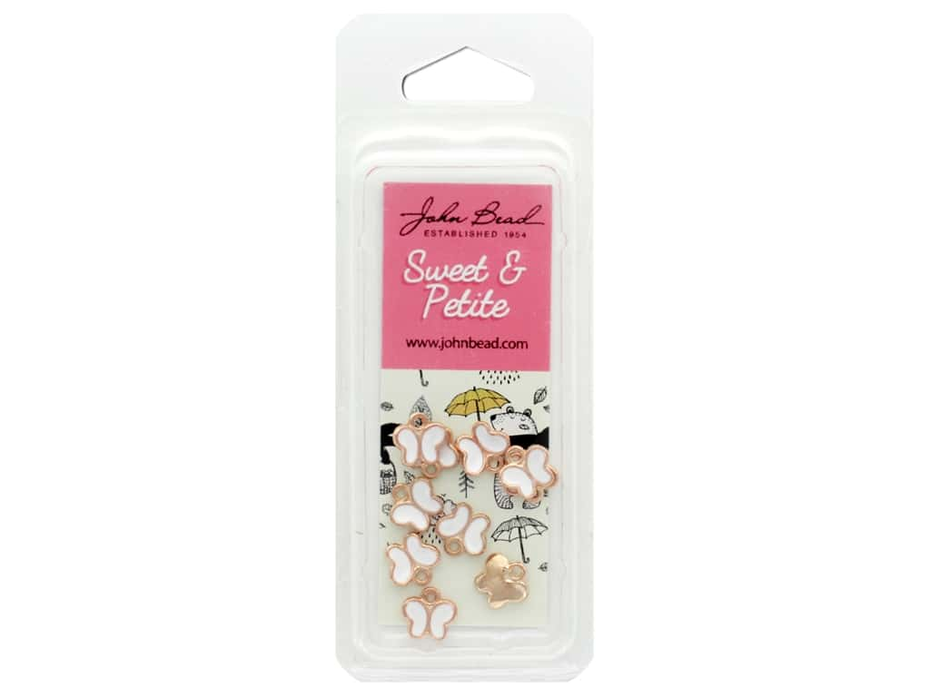 John Bead Sweet & Petite Charm Butterfly White 10 pc