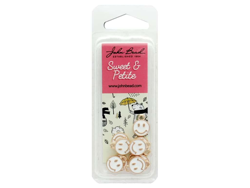 John Bead Sweet & Petite Charm Happy Face White 10 pc