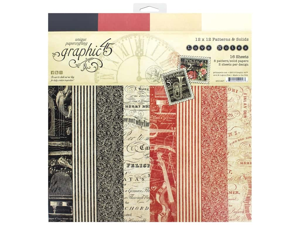 Graphic 45 Collection Love Notes Paper Pad 12 in. x 12 in. Solid/Pattern