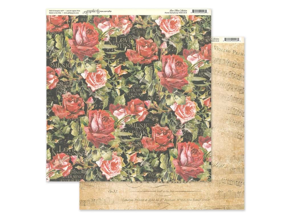 Graphic 45 Collection Love Notes Paper 12 in. x 12 in. Floral Symphony (25 pieces)