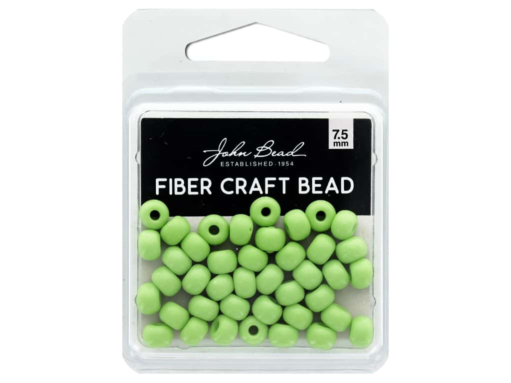 John Bead Fiber Craft Beads 7.5 mm Opaque Pale Green