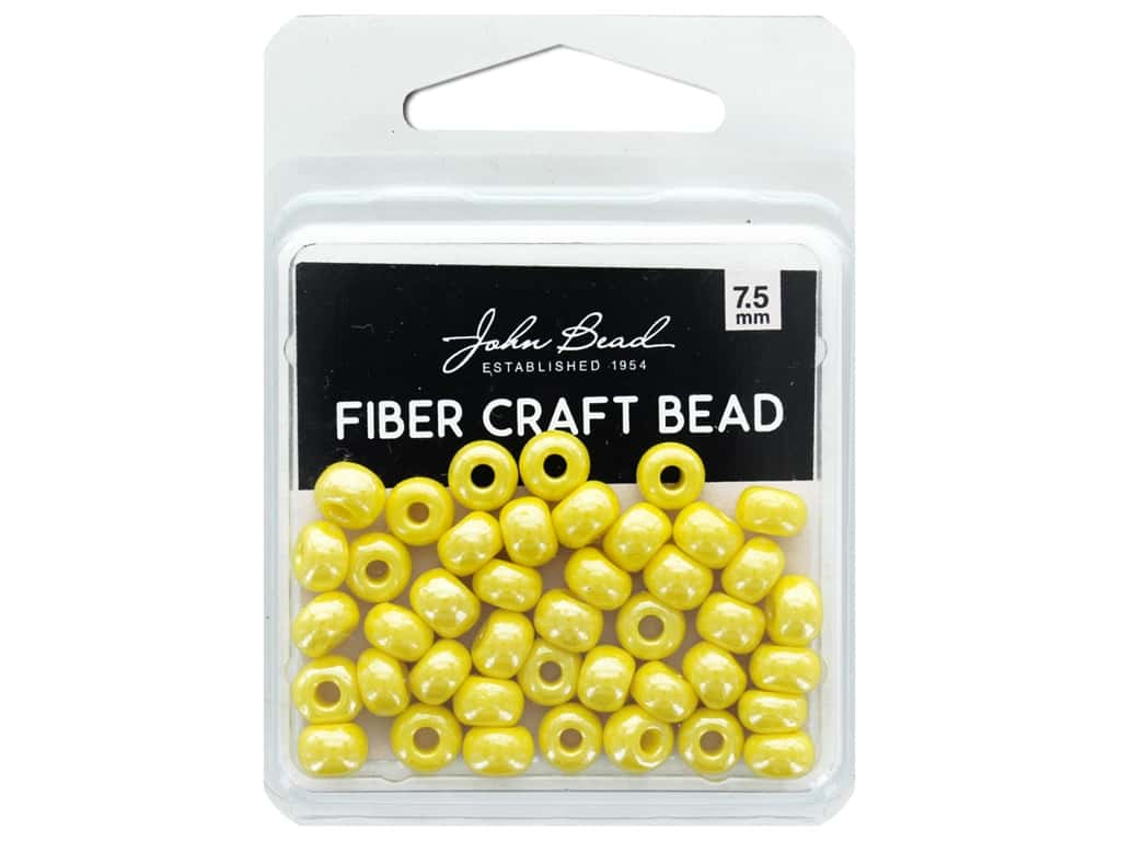 John Bead Fiber Craft Beads 7.5 mm Opaque Yellow Luster