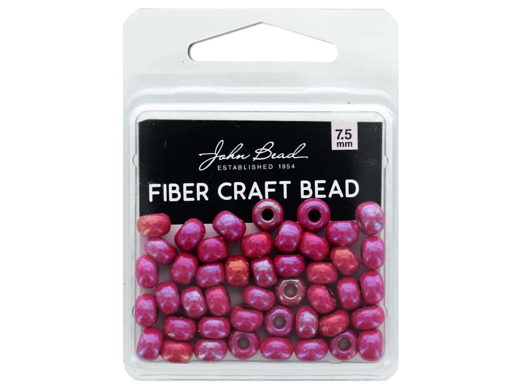 John Bead Fiber Craft Beads 7.5 mm Opaque Red AB