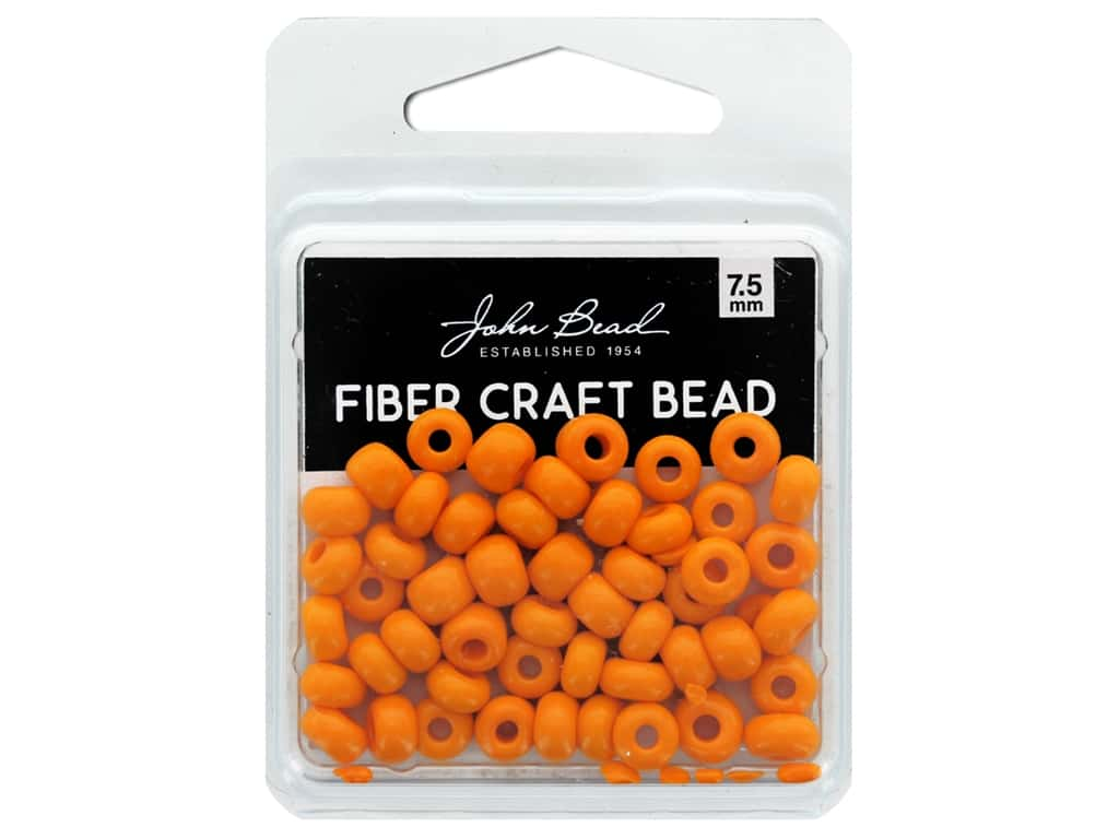 John Bead Fiber Craft Beads 7.5 mm Opaque Light Orange