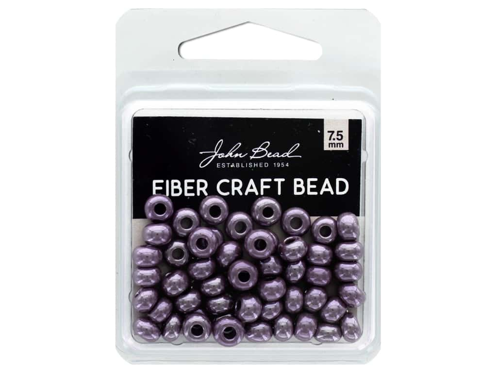 John Bead Fiber Craft Beads 7.5 mm Opaque Light Amethyst Luster