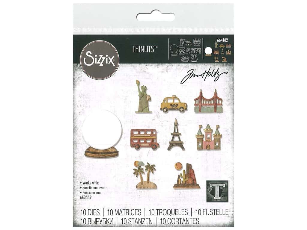 Sizzix Tim Holtz Thinlits Die Set 10 pc. Tiny Travel Globe