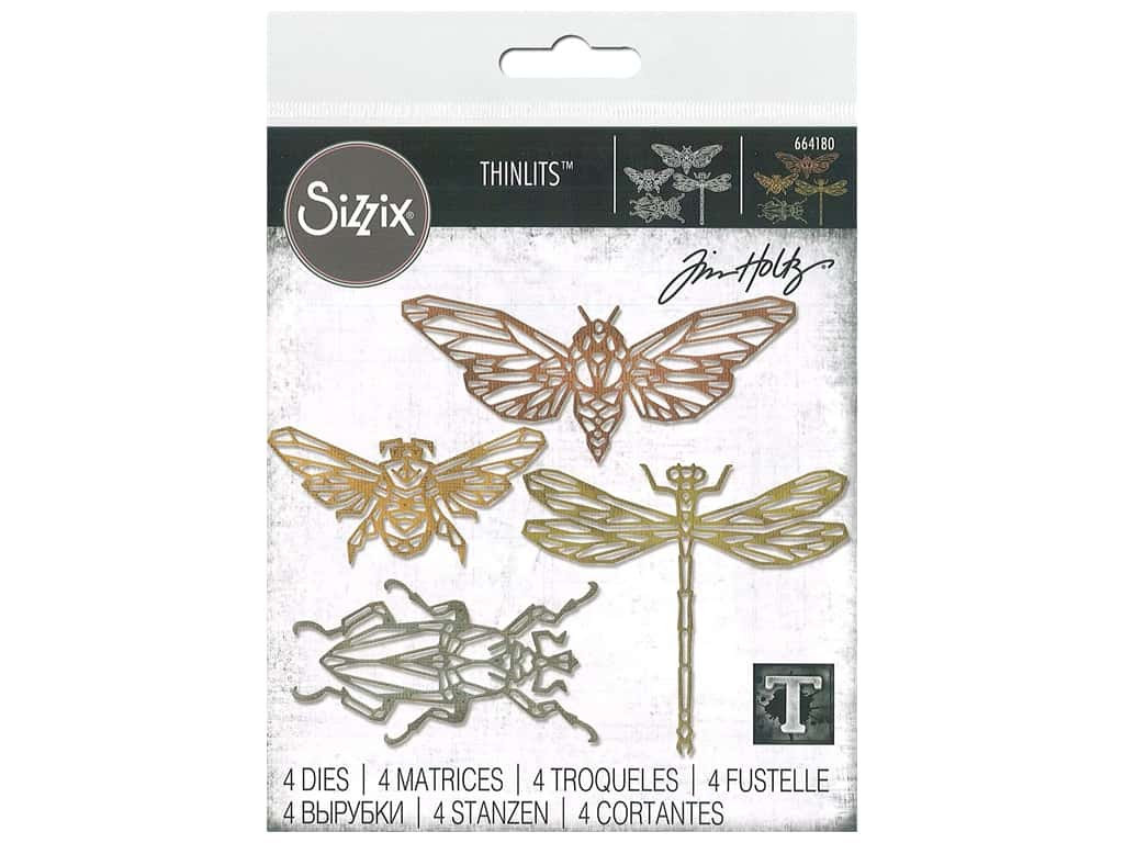 Sizzix Tim Holtz Thinlits Die Set 4 pc. Geo Insects