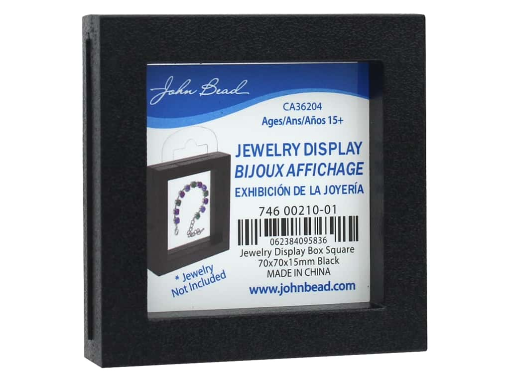 John Bead Jewelry Display Box 70 x 70 x 15 mm Black