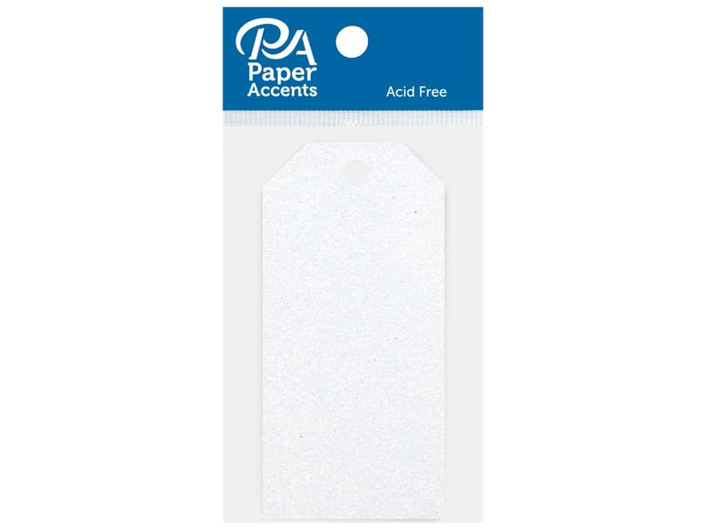 Paper Accents Craft Tags 1.625 in. x 3.25 in. 10 pc Glitter Iridescent White