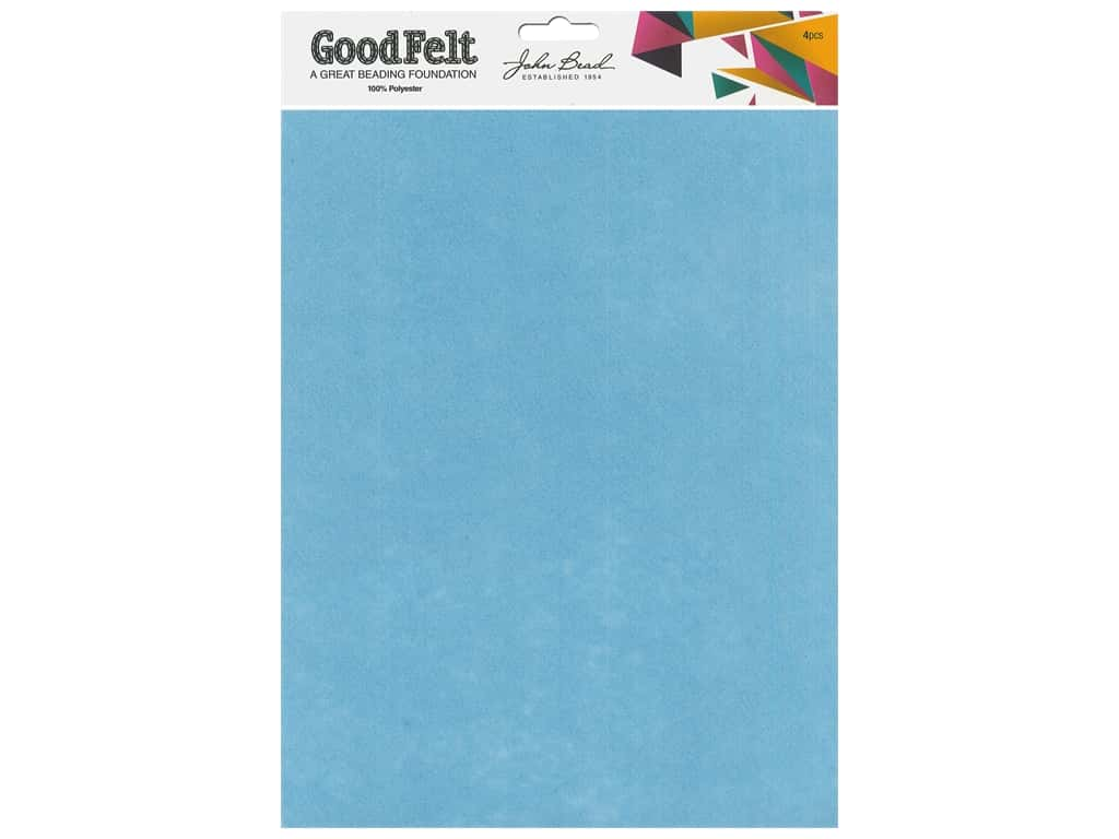 John Bead Good Felt Beading Foundation 1.5 mm 8.5 in. x 11 in. Light Blue/Blue 4 pc
