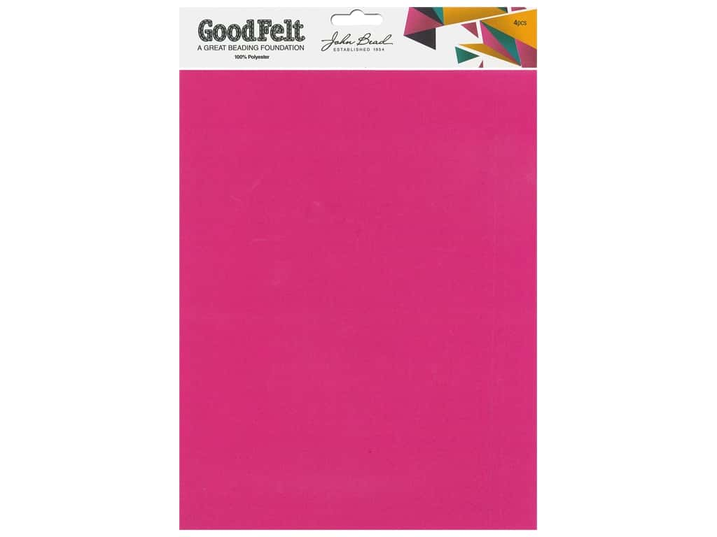 John Bead Good Felt Beading Foundation 1.5 mm 8.5 in. x 11 in. Pink/Red 4 pc
