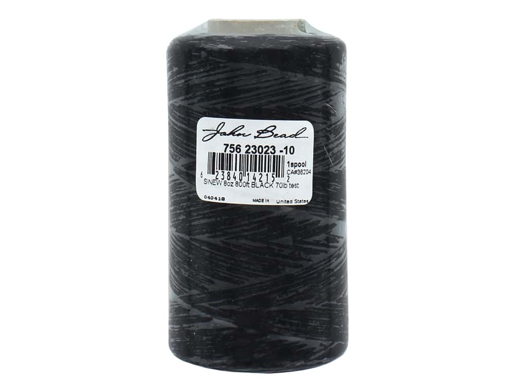 John Bead Sinew 70 lb Test 800 ft Spool Black