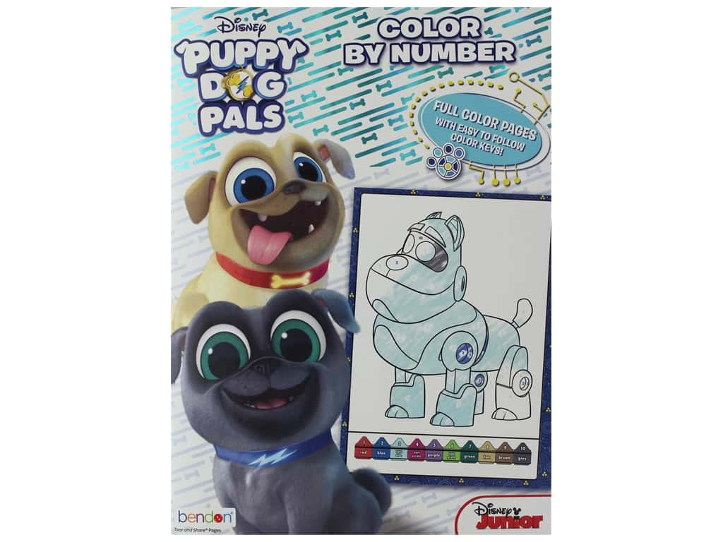 Bendon Color By Number Book Disney Puppy Dog Pals