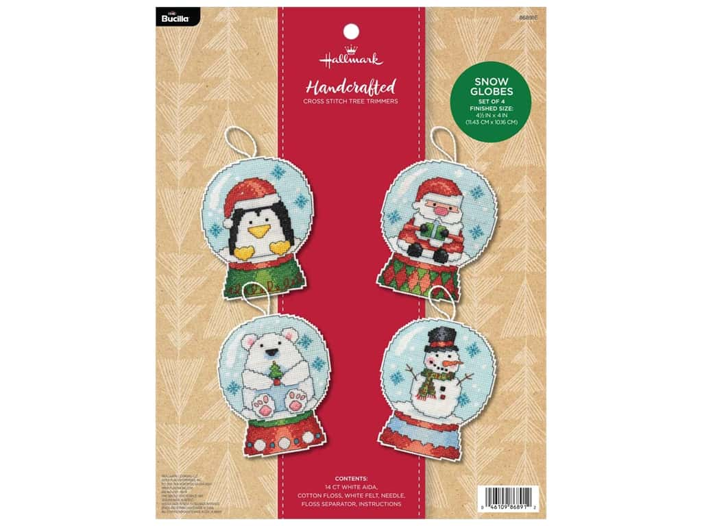 Bucilla Cross Stitch Kit Hallmark Holiday Blooms Tree Trimmers 4 pc