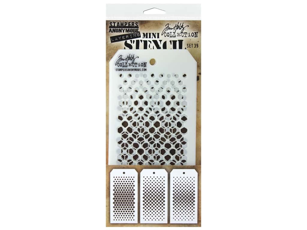 Stampers Anonymous Tim Holtz Layering Mini Stencil Set #39