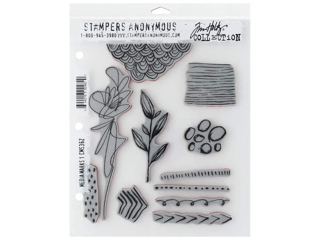 Stampers Anonymous Tim Holtz Cling Mount Stamp Set - Media Marks #1
