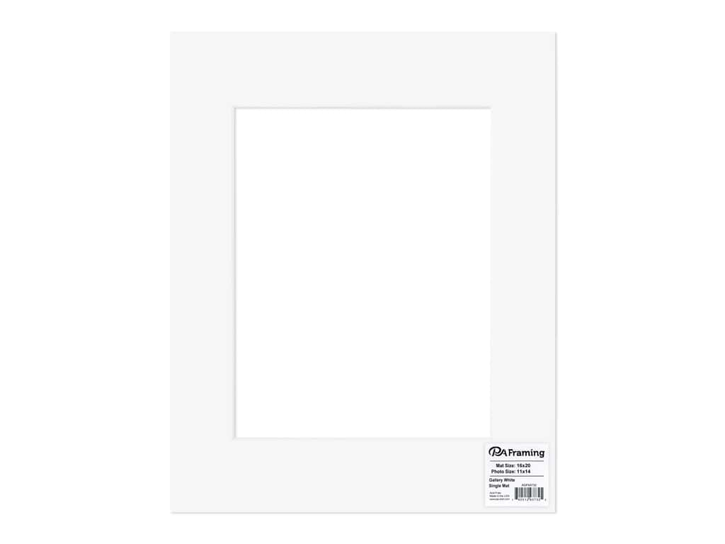 PA Framing Pre-cut Double Thick Gallery Photo Mat Board White Core 16 x 20 in. for 11 x 14 in. Photo White