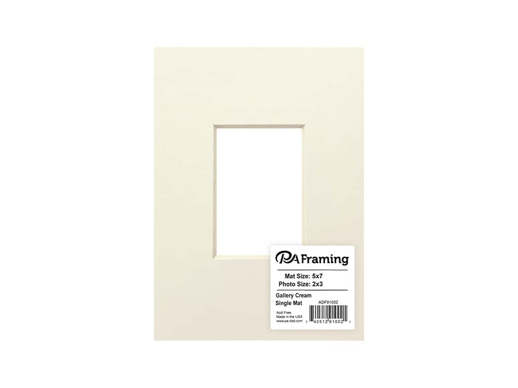 PA Framing Pre-cut Double Thick Gallery Photo Mat Board Cream Core 5 x 7 in. for 2 x 3 in. Photo Cream