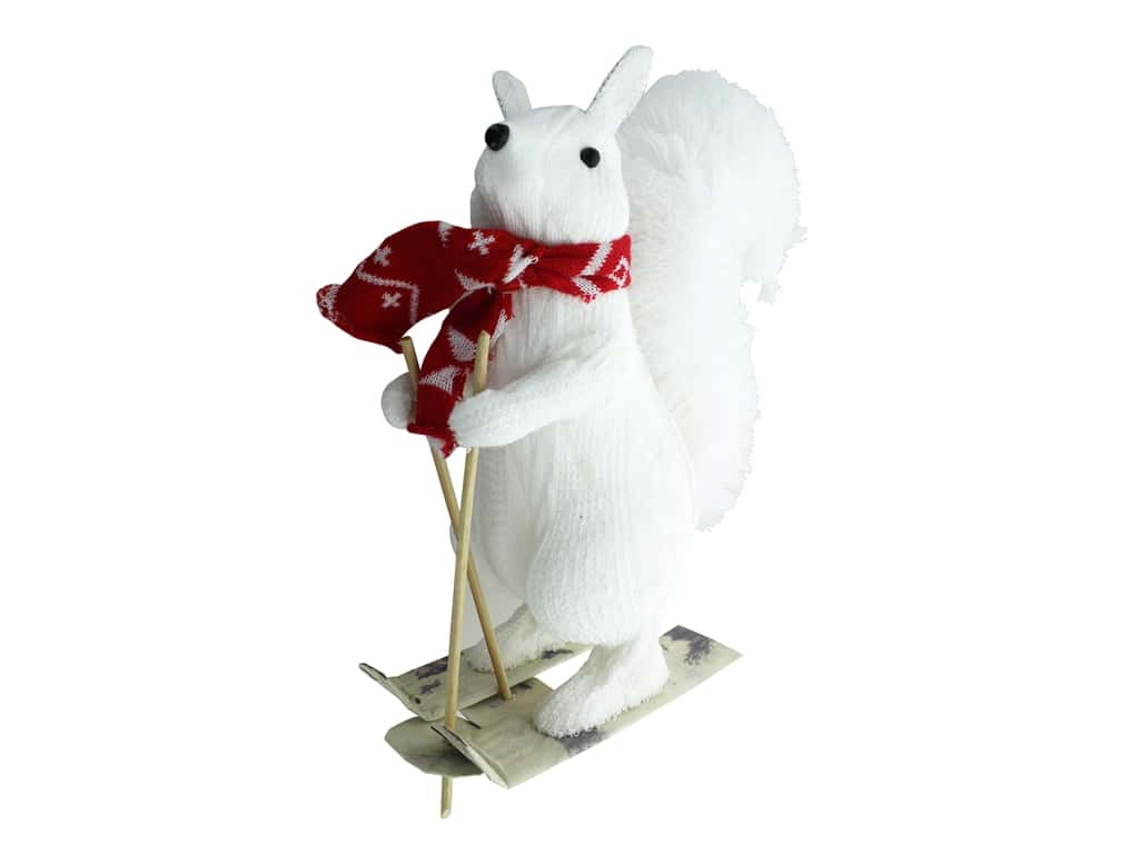 Darice Decor Polyfoam Skiing Squirrel 4 in. x 11.8 in. x 9 in. White